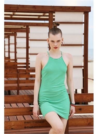 Latin Quarter Çizgili Fitilli Halter Yaka Mini Elbise Yeşil